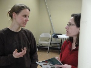 Sara Morrison advices a gardener after a seed starting class.