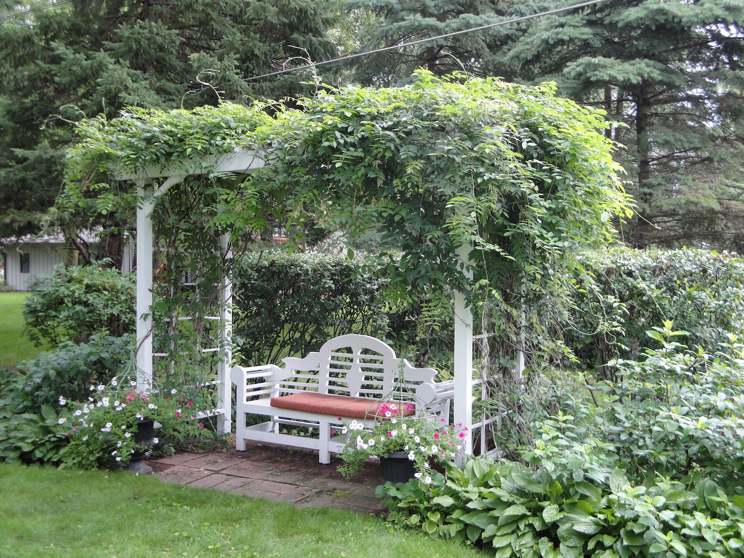 Garden seating with flowers