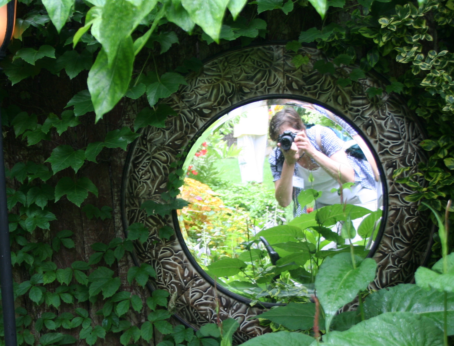 garden blogger photographing mirror in garden