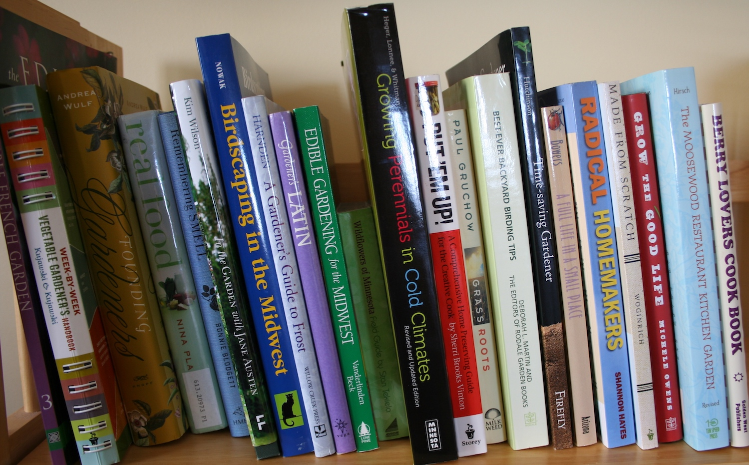 garden books on shelf