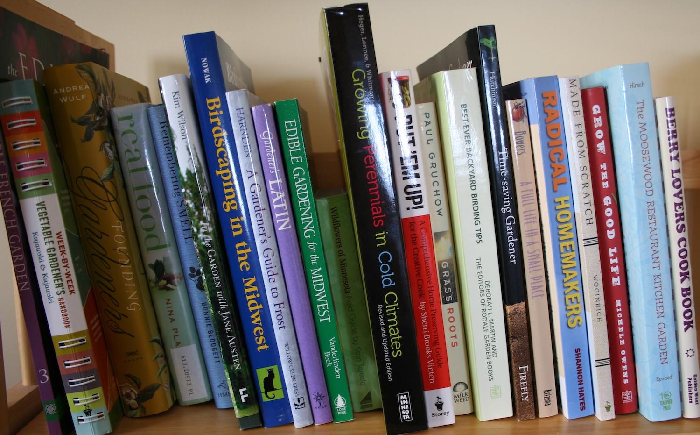 garden books on shelf