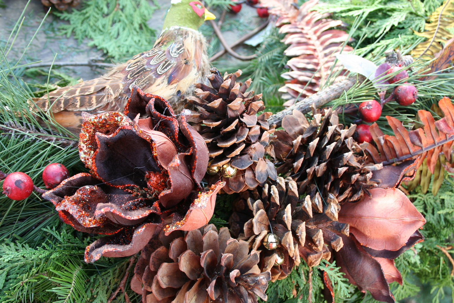 pine cones and feathers