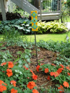 garden stake with short plants
