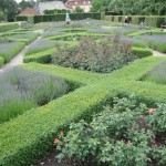 The formal gardens at King's Garden use boxwood, lavender and roses in a diamond pattern.