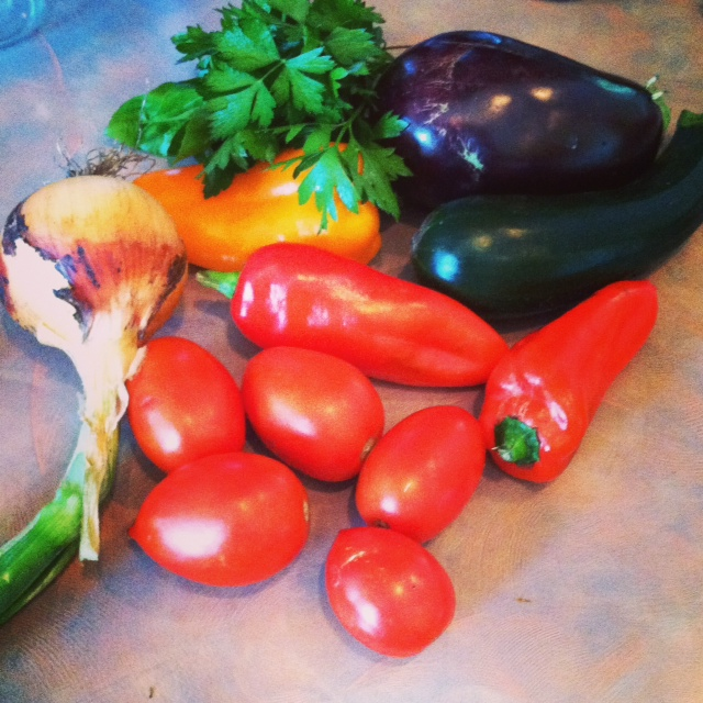 For a simple ratatouille, you'll need onions, zucchini, eggplant ...