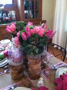 Citrus green, bright pink and clean white make for a pretty spring table.