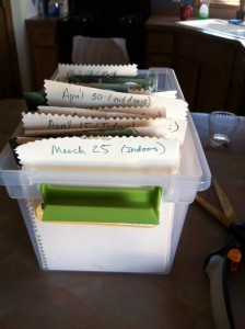 I organize seeds by whether I'm starting them indoors or out and on which day.
