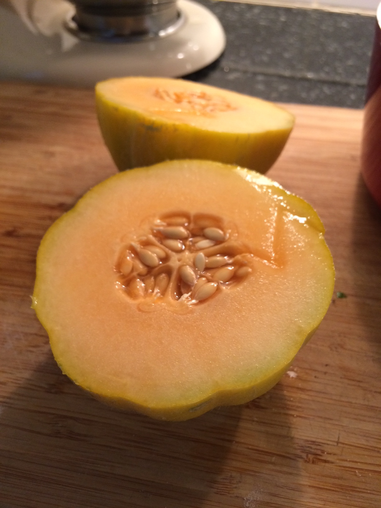 cantaloupe cut in half