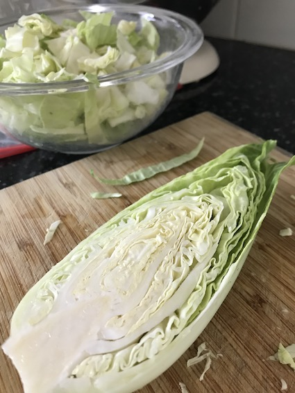 Cut cabbage -- cabbages are among the superfoods